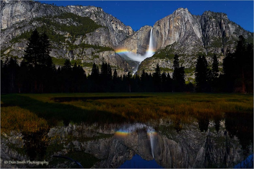 Yosemite Falls Moonbow and Reflection