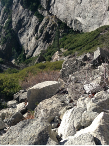 Rockfall along Yosemite falls trail